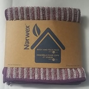 Bath and face towels gray and purple strip…